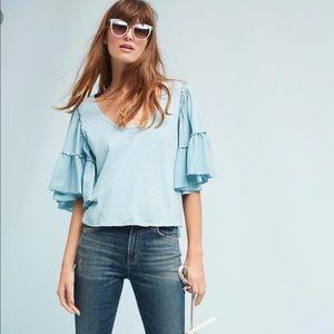 Bordeaux candace anthropologie blue ruffle sleeve